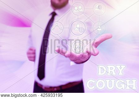 Text Caption Presenting Dry Cough. Word For Cough That Are Not Accompanied By Phlegm Production Or M