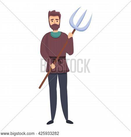 Medieval Peasant Icon Cartoon Vector. Man Peasant. King Game People