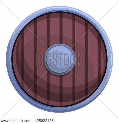 Round Shield Icon Cartoon Vector. Wood Viking Shield. Wooden Armor