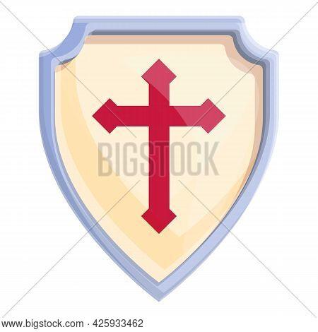 Knight Shield Icon Cartoon Vector. Metal Arms Coat. Steel Medieval Shield