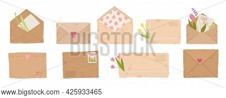 Letters, Cards And Envelopes. Postcard, Paper Mail With Postmark, Wax Sealing And Postage Stamp, Not