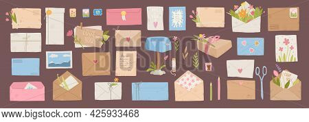 Envelopes With Postmarks. Vintage Paper Mail Letters With Postage Stamp, Cards, Sealing Wax, Scissor