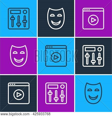 Set Line Sound Mixer Controller, Online Play Video And Comedy Theatrical Mask Icon. Vector