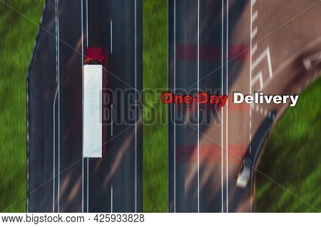 A Red Truck Carries Cargo In A Closed White Trailer - Top View Shot. Concept Of Delivery Of Goods, T