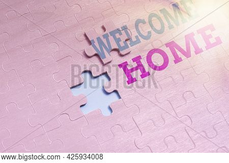 Handwriting Text Welcome Home. Internet Concept Expression Greetings New Owners Domicile Doormat Ent
