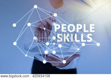 Handwriting Text People Skills. Word Written On Get Along Well Effective Communication Rapport Appro