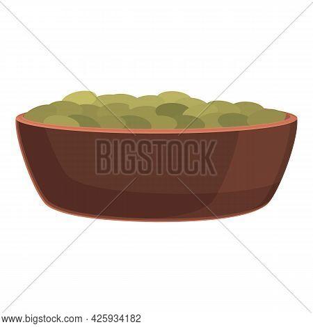 Raw Lentil Bowl Icon Cartoon Vector. Vegetable Bean. Seed Stem Plant