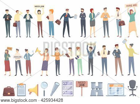 Seeking Job Icons Set Cartoon Vector. Covid Employment. Lost Bad Business