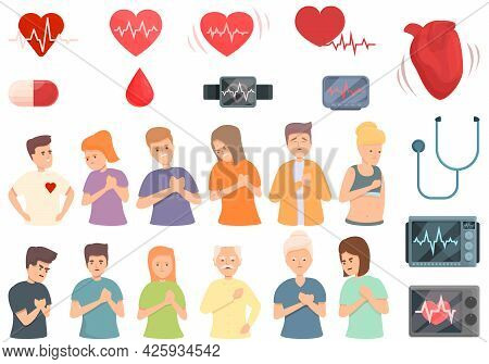 Palpitating Icons Set Cartoon Vector. Aid Attack. Breath Abdomen Disorder