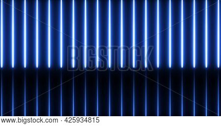 Image of glowing neon blue lines moving on seamless loop on black background. repetition colour and movement concept digitally generated image.