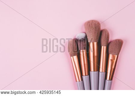 Collection Of Group Makeup Brush Size With Various Isolated On Pink Background, Set Of Make-up Artis