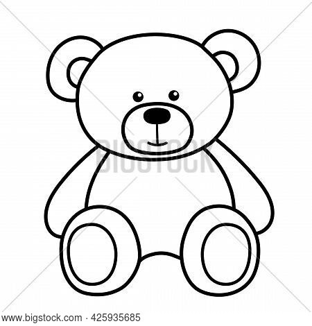 Cute Teddy Bear Toy. It Is Sitting. Simple Vector Illustration In Style Outline.