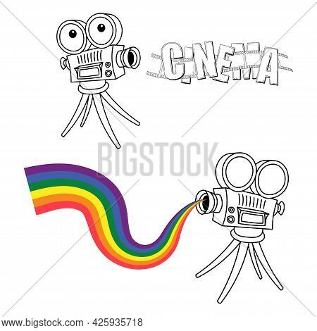 Silhouette Of Vintage Cinema Projector On A Tripod With Multicolor Beam. Detailed Camcorder With Fil
