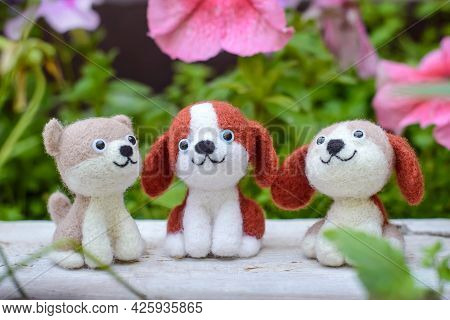 Three Cute Funny Little Toy Handmade Woolen Dogs Felting From Wool