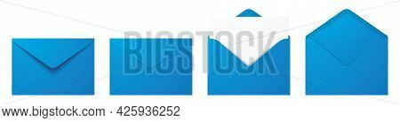 Vector Set Of The Realistic Blue Envelopes.