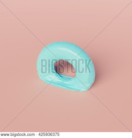 Deflated Pool Float Ring On Pastel Background. Minimal Scene. End Of Summer Concept. 3d Render