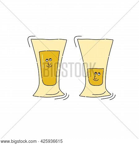 Tequila Glassware With Smile Face On White Background. Cartoon Sketch Graphic Design. Doodle Style W