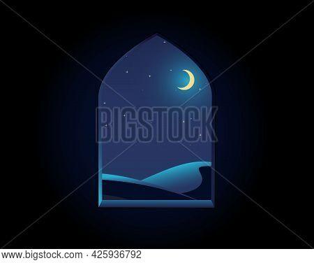 Arabian Arch. Window Fortress . Stronghold Window. Night Desert Landscape Illustration, Starry Sky,