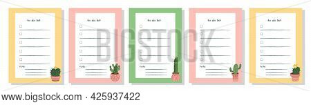 Template For To-do List, Schedule, Organizer With Place For Notes. Set Of Agenda Blank Lists For Dai