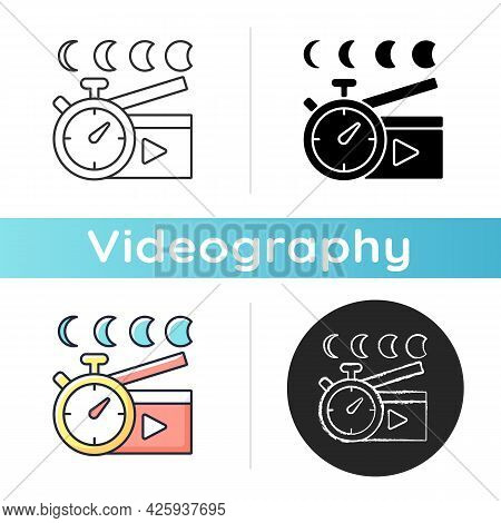 Time Lapse Videos Icon. Shooting Footage Over Night. Clock With Time Passing For Filmmaking. Stop Mo