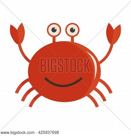 Vector Illustration Of Cute Smiling Red Crab In Cartoon Childish Flat Style. Anthropomorphic Charact