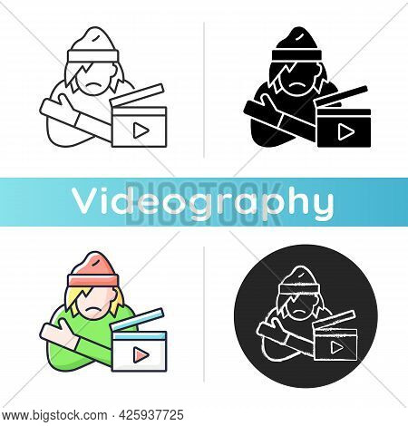 Social Videos Icon. Cinematography For Public Awareness Campaign. Documentary On Poverty. Filmmaking