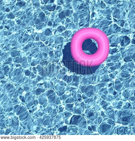 Azure water with pink swimming ring, top view, caustic effect, 3D illustration, rendering.