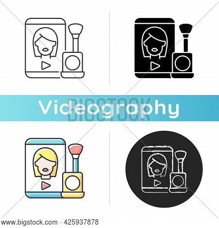 Make Up Tutorial Videos Icon. Beauty Vlog. Online Creator On Women Style. Beautician Blog. Streaming