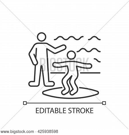 Surfing Lessons Linear Icon. Take Surf Classes From Experienced Surfer. Surfing Etiquette, Tricks. T