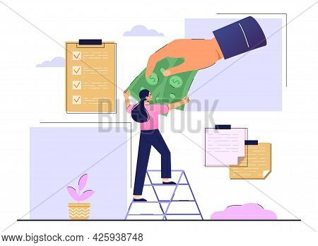 Concept Of Obtaining A Universal Basic Income. The Hand Holds Out Dollars. A Woman Stands On A Stepl