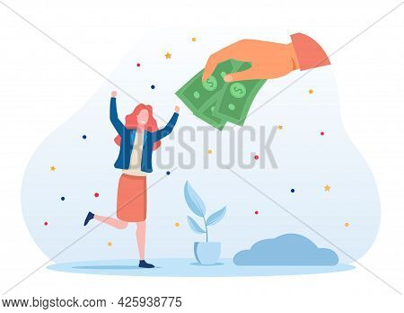 Concept Of Obtaining A Universal Basic Income. The Hand Extends Money To A Happy Woman. Blue Backgro