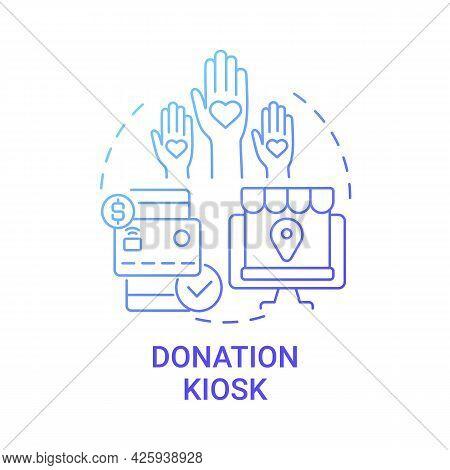Donation Kiosk Concept Icon. Fundraising Event Abstract Idea Thin Line Illustration. Optimizing Givi