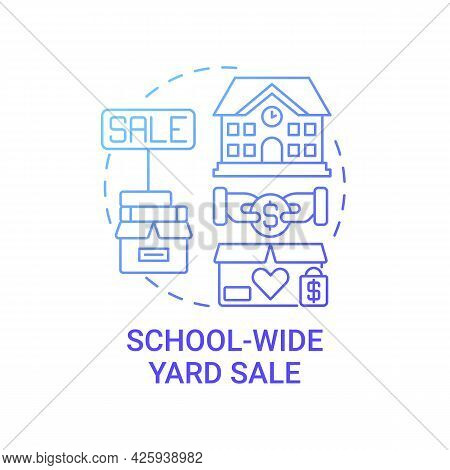 School-wide Yard Sale Concept Icon. Fundraising Appeal Abstract Idea Thin Line Illustration. Selling