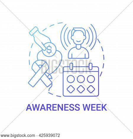 Awareness Week Fundraiser Concept Icon. Fundraising Campaign Abstract Idea Thin Line Illustration. S