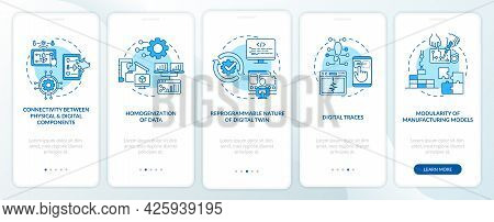 Digital Twin Characteristics Onboarding Mobile App Page Screen. Automation Walkthrough 5 Steps Graph