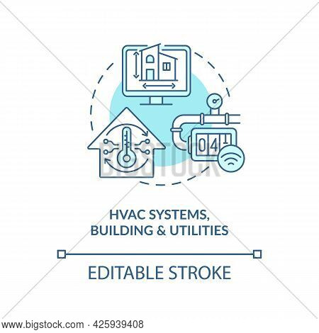 Hvac Systems Buildings And Utilities Concept Icon. Digital Twin Application Industry. Modern Technol