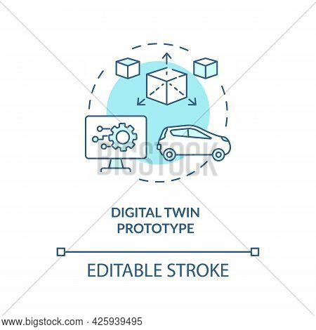 Digital Twin Prototype Concept Icon. Early Example Of Future Technology. Modern Smart Systems Abstra