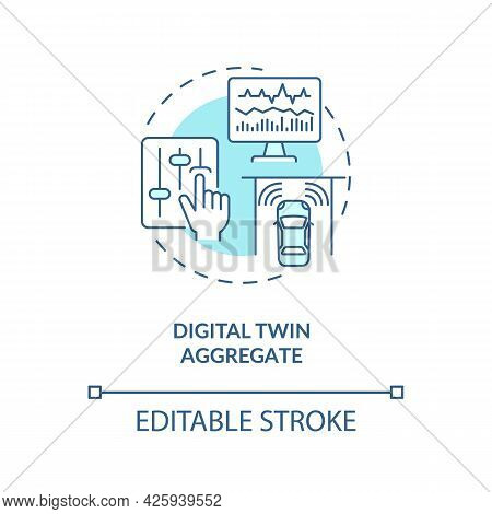 Digital Twin Aggregate Concept Icon. Smart Technology Types. Innovative Systems. Computer Automation