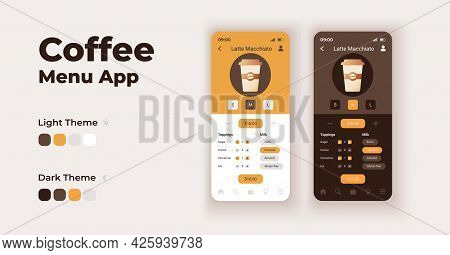 Coffee Menu Cartoon Smartphone Interface Vector Templates Set. Mobile App Screen Page Night And Day