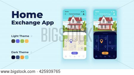 Home Exchange Cartoon Smartphone Interface Vector Templates Set. Mobile App Screen Page Night And Da