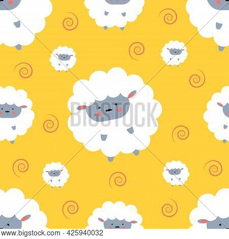 Pattern Of Cute Lamb On Yellow Background. Vector Illustration.