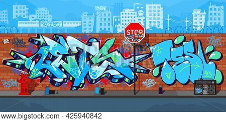 Abstract Colorful Urban Streetart Graffiti Wall With Drawings Against