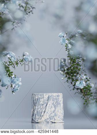 3d Background Blue Cloth Podium Display. Nature Rose Flower Blossom. Feminine Summer And Spring Pede