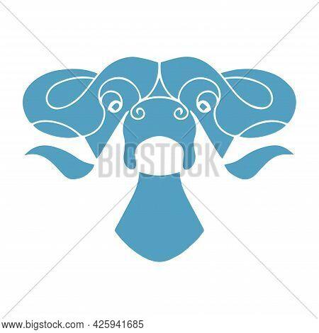 Vector Illustration Of A Bull. Bull Head Design. Cattle. Bull Logo. Buffalo Drawing. Livestock.