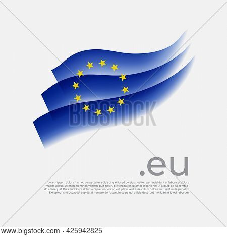 European Union Flag Watercolor. Colored Stripes Eu Flag On A White Background. Vector Stylized Poste