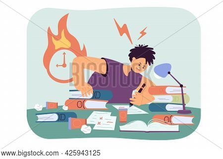 Student Preparing For Test At Last Moment. Flat Vector Illustration. Sad Guy Writing Assignments At