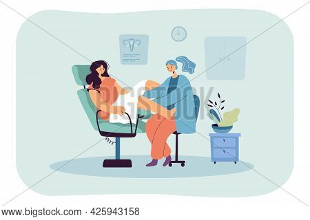 Gynecological Examination Flat Vector Illustration. Woman Sitting In Gynecological Chair While Docto