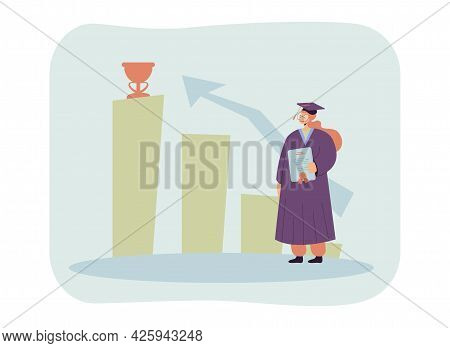 Female Graduate Looking At Prize On Pedestal. Young Girl In Graduation Hat Holding Diploma Flat Vect