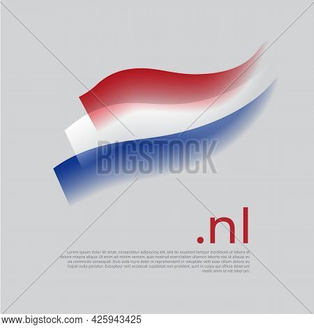 Netherlands Watercolor Flag. Holland Flag Colors Stripes On White Background. Vector Stylized Nation