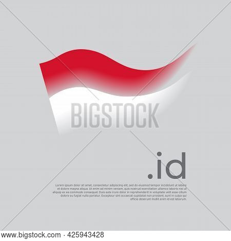 Indonesia Flag. Colored Stripes Of The Indonesian Flag On A White Background. Vector Stylized Design